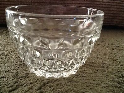 Jeannette Cube Clear Custard, Condiment Bowl, Crystal Bowl 1-3/8 Tall Vintage