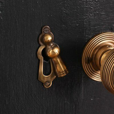 Antique Solid Brass Victorian Lady Escutcheon Door Keyhole Cover Beehive Reeded