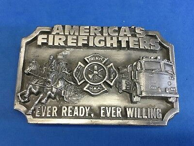 American Firefighters Pewter Belt Buckle. Ever Ready, Ever Willing