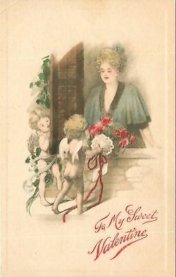 Valentine~Lovely Lady Lingerie~In Window~Cupids Bring Bouquets~Gibson Art Co