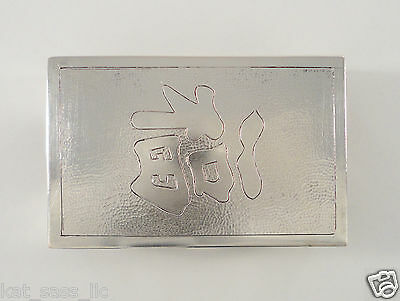 Vintage Hung Chong Chased Sterling Silver Chinese Export Match Box Case Holder