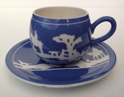 TG Green Tally Ho Cup and Saucer. Blue and White Hunting Scene.