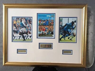 Manchester City Signed Framed Programme & Photos From Last Derby At Maine Road