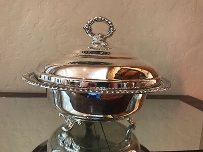 """Vintage Silver Plated Footed Covered Dish Serving Bowl With Lid 12"""""""