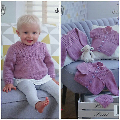 KNITTING PATTERN Baby Cable Jumper, Cardigans and Hat Comfort DK King Cole 4966