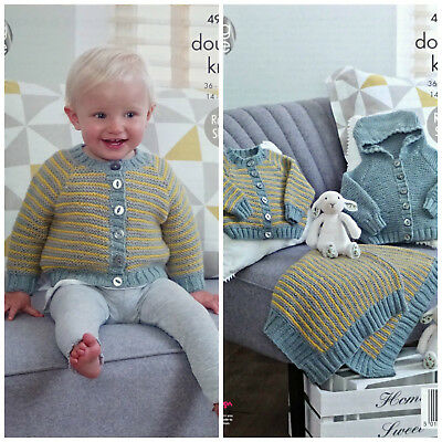 KNITTING PATTERN Baby Striped Cardigan & Blanket and Hoodie DK King Cole 4967