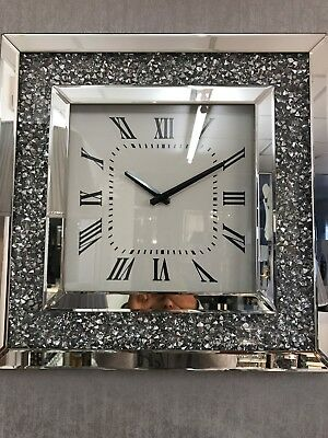 Crushed Diamond Mirrored Wall Clock