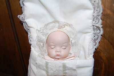 Vintage 8 Inch Porcelain Sleeping Baby Doll in Sleep Sack Bunting Bag Soft Body