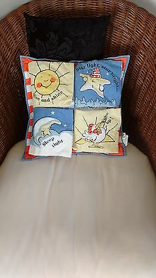 Children's baby's cushion bedroom interactive lift flap rhyme book blue white