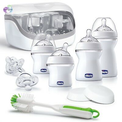 Chicco NaturalFit Baby Bottles All You Need Starter Set with Bottle Sterilizer,