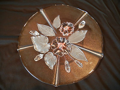 Mikasa? Round Crystal Platter Cake Plate Pink Purple Floral