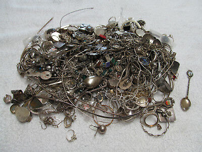GIANT VINTAGE 4lb 8.5oz (2054g) STERLING JEWELRY & MISC. MIXED SCRAP LOT