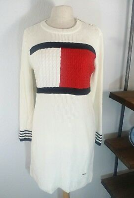 Tommy Hilfiger Sweater Dress Size Large Ivory Varsity Flag Vintage cable Knit
