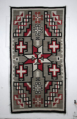 NAVAJO HISTORIC CRYSTAL RUG, STORM VARIANT, CROSSES, 1910-1920, 44 X 83 in