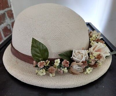 """Women's Vintage Hat Ivory Approx circa 1940 size 20.5"""""""