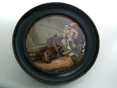 Antique Staffordshire Prattware pottery Pot lid Enthusiast framed fishing 19thC
