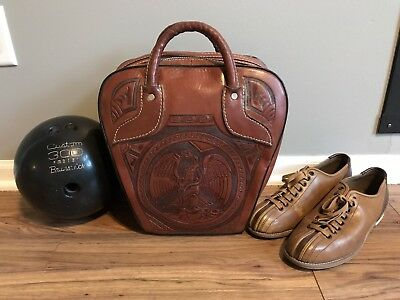 Vintage Hand Tooled Mexican Leather Bowling Bag, Shoes, Ball Brunswick
