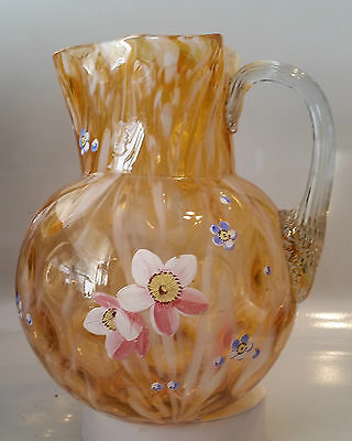 Atq Harrach Art Glass Pitcher - Apricot & Opal Spot Optic Pattern Floral Enamel