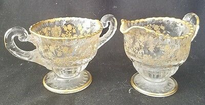 Cambridge Rose Point Clear Gold Encrusted Shape 3500 Individual Creamer & Sugar