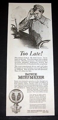 1920 Old Magazine Print Ad, Boyce Moto-Meter, Too Late His Radiator Leaked, Art!