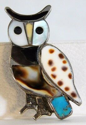 Vtg  ZUNI Native Sterling Silver MOP Onyx Inlay Turquoise Horned Owl Pin Brooch