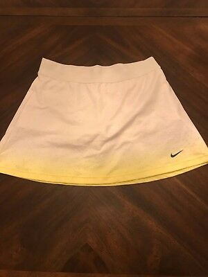 Nike Dri Fit Tennis Skirt Skort Girls Youth White Ombre Yellow Size XL Xlarge