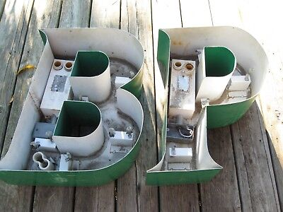 "Large ""bp"" Metal British Petroleum Sign Letters Gas Oil"