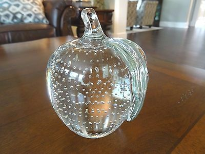 """1987 Gibson Art Glass CONTROLLED BUBBLE APPLE Paperweight Large 4.75"""" Tall x3.5"""""""