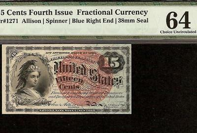 15 CENT FRACTIONAL CURRENCY 1869-1875 UNITED STATES NOTE Fr 1271 PMG 64