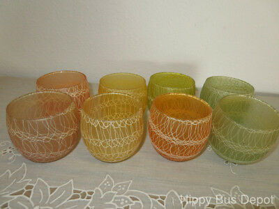 Mid Century Modern Set of 8 Spaghetti String Spun Colorful ROLY POLY Glasses