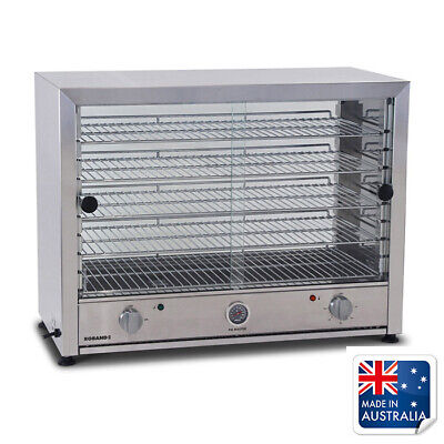 Hot Food Display Warmer 100 Pie Square Both Sides Glass Roband PA100G Commercial