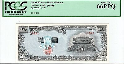 P-17f 1958 10 Hwan, Bank of Korea (South Korea), PCGS 66PPQ, Nice!