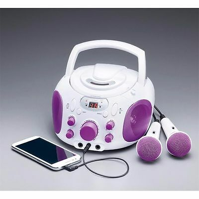Purple & White | Black & Blue Karaoke Machine Portable CD Player + 2 Microphone