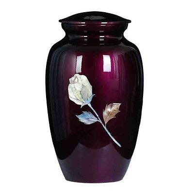 "New Cremation Urn, Metal,"" Mother of Pearl Inlaid Rose ""Adult Burgandy color!!"