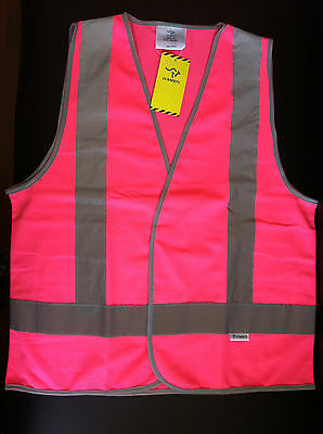 Hi Vis Safety Pink Day/Night Vest Size XS to 4XL