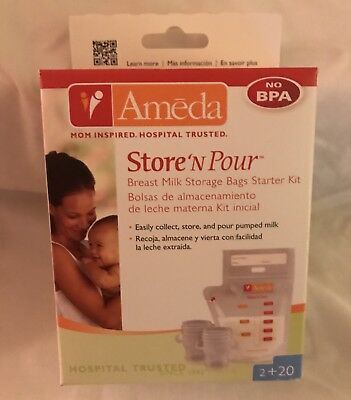 Ameda Store N Pour Breast Milk Storage Bags & Adapter, New! Free Shipping!