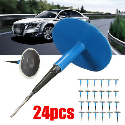 24x Car Vehicle Tubeless Tyre Puncture Repair KIT Wired 6mm Mushroom Plug Patch