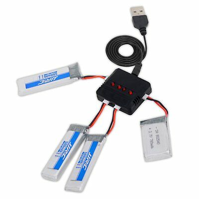 3PCS JJRC H37 550mAh 3.7V Lipo Battery with 4 in 1 Charger For Drone H37 X5SW