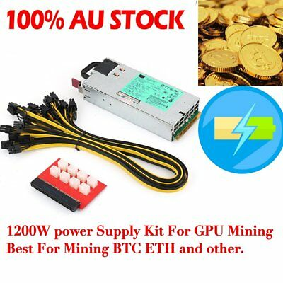 1200W Switching Power Supply for GPU Rig Mining Ethereum BTC ETH DPS-1200FB A O5