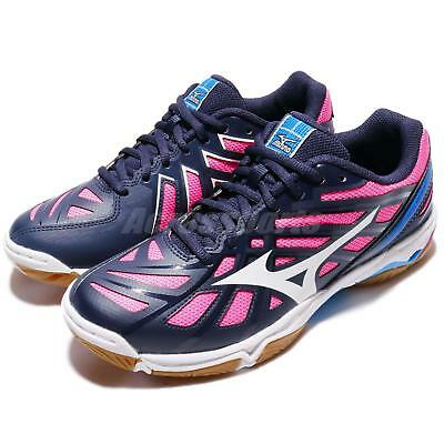 Mizuno Wave Hurricane 3 Navy Indoor Women Badminton Volleyball Shoes V1GC17-4002