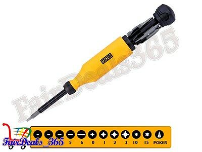 Heavy Duty Jcb Retracting Cartridge Screwdriver With Palm Saver Cap Brand New