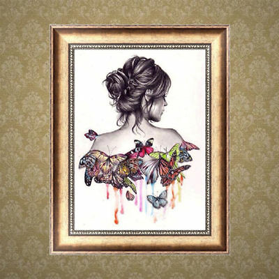 5D DIY Diamond Painting Butterfly Beauty Embroider Cross Stitch Home Decor Craft