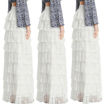 US Stock New Womens Lace Long Skirt Elastic Flowy Pleated A-Line Boho Maxi Dress