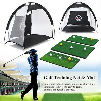 Golf Hitting Cage Practice Net Trainer With Training Mat +Tee Foldable +3 Balls