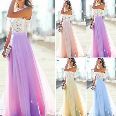 Womens Formal Lace Prom Formal Evening Party Cocktail Bridesmaid Wedding Dress