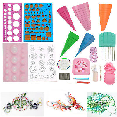 18PCS Paper Quilling DIY Craft Tool Full Kit Tweezer Work Board Mould Grid Guide