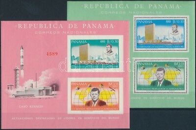 Republic of Panama stamp Kennedy perforated and impeforated block MNH WS244779