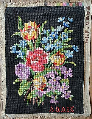 Vintage Bouquet Floral Flowers Roses Tulips Black Needlepoint Tapestry Canvas