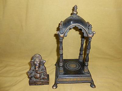 Bronze Indian Temple With Ganesha Inside.