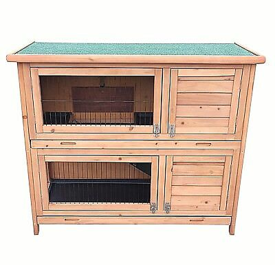 Heritage 4FT Double Deck Wooden Rabbit Hutch Run Cage Guinea Pig Ferret Outdoor